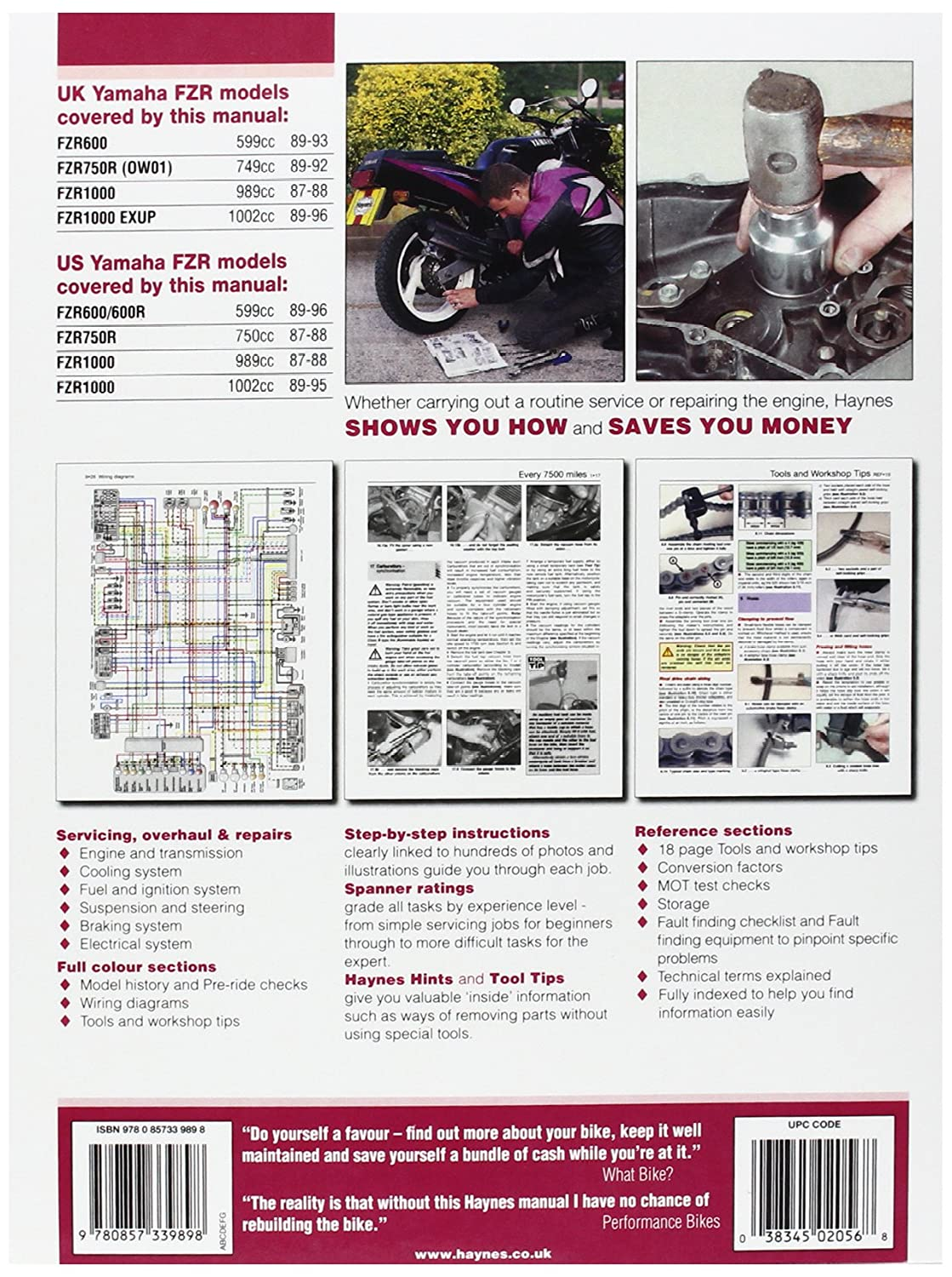 89 Fzr 1000 Wiring Diagram Yamaha 600 Amazon Com Manual Yam Fzr600 87 98 Automotive Triumph Daytona 675
