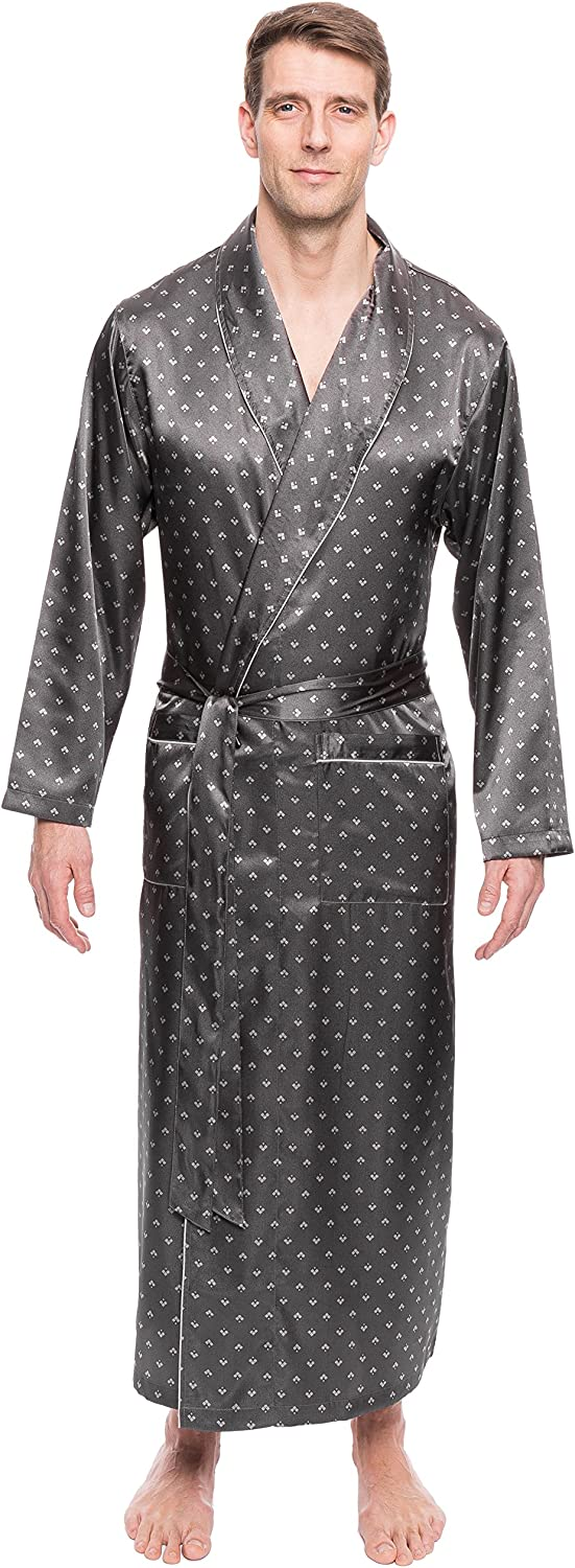 Twin Boat Mens Satin Robe - Lightweight Silky Robes for Men