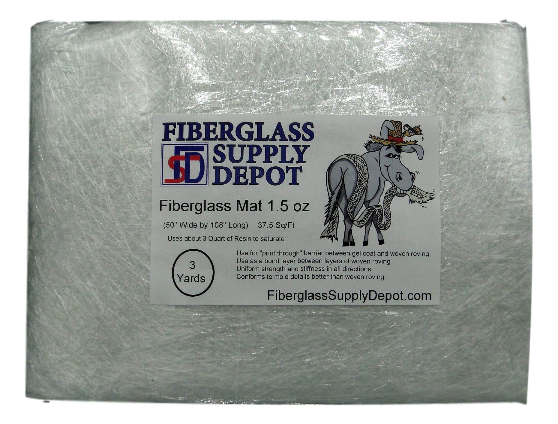 Fiberglass Mat - 1.5 oz - 3 Yards - CSM - Chopped Strand Mat by CTG