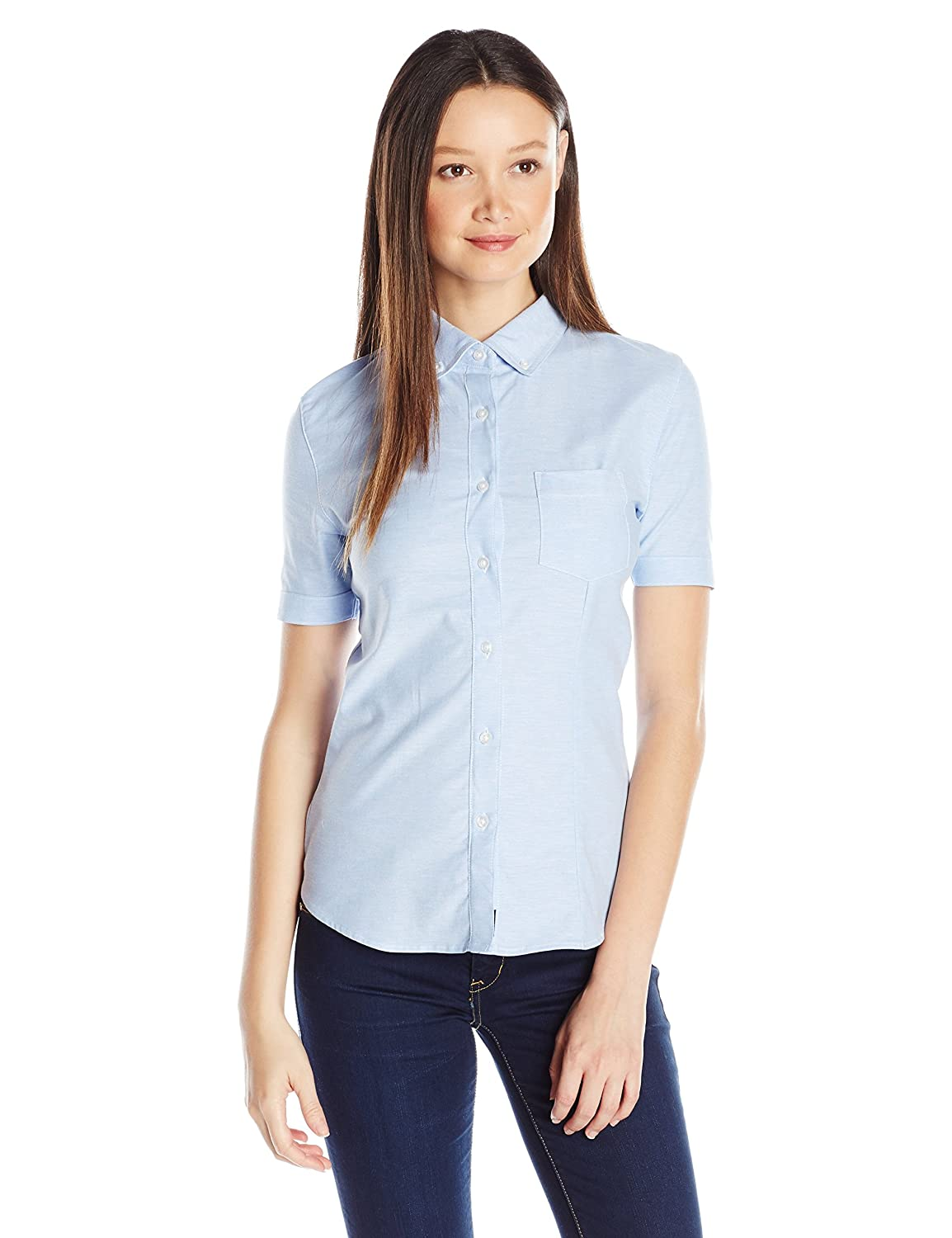 2f72eed9 Amazon.com: Lee Uniforms Junior's' Short-Sleeve Stretch Oxford Blouse: Button  Down Shirts: Clothing
