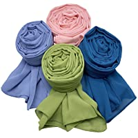 MANSHU 4 PCS Women Soft Chiffon Scarves Shawl Long Scarf Wrap Scarves H Series