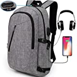 YIDUGO Laptop Backpack,Travel Computer Bag for Women & Men,Anti Theft Water Resistant College School Bookbag,Slim Business Backpack w/USB Charging Port Fits up to15.6 Inch Laptop Notebook,Grey