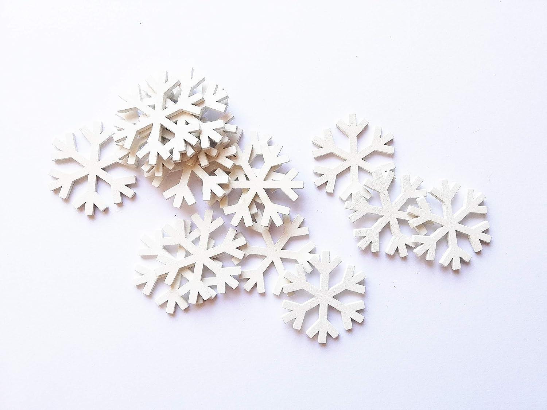 Weihnachtsdekoration - Schneeflocke - weiß - 15 Stück Holzdekoration (Größe 50 mm) - ideal zum Dekorieren der Tisch- / Tischkarte.