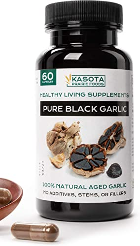 Kasota Prairie Foods. Pure Black Garlic Supplement. All Natural with Allicin for High Blood Pressure, Antioxidant and Cholesterol Support. No Stems, Husks, or Fillers. 60 Capsules.