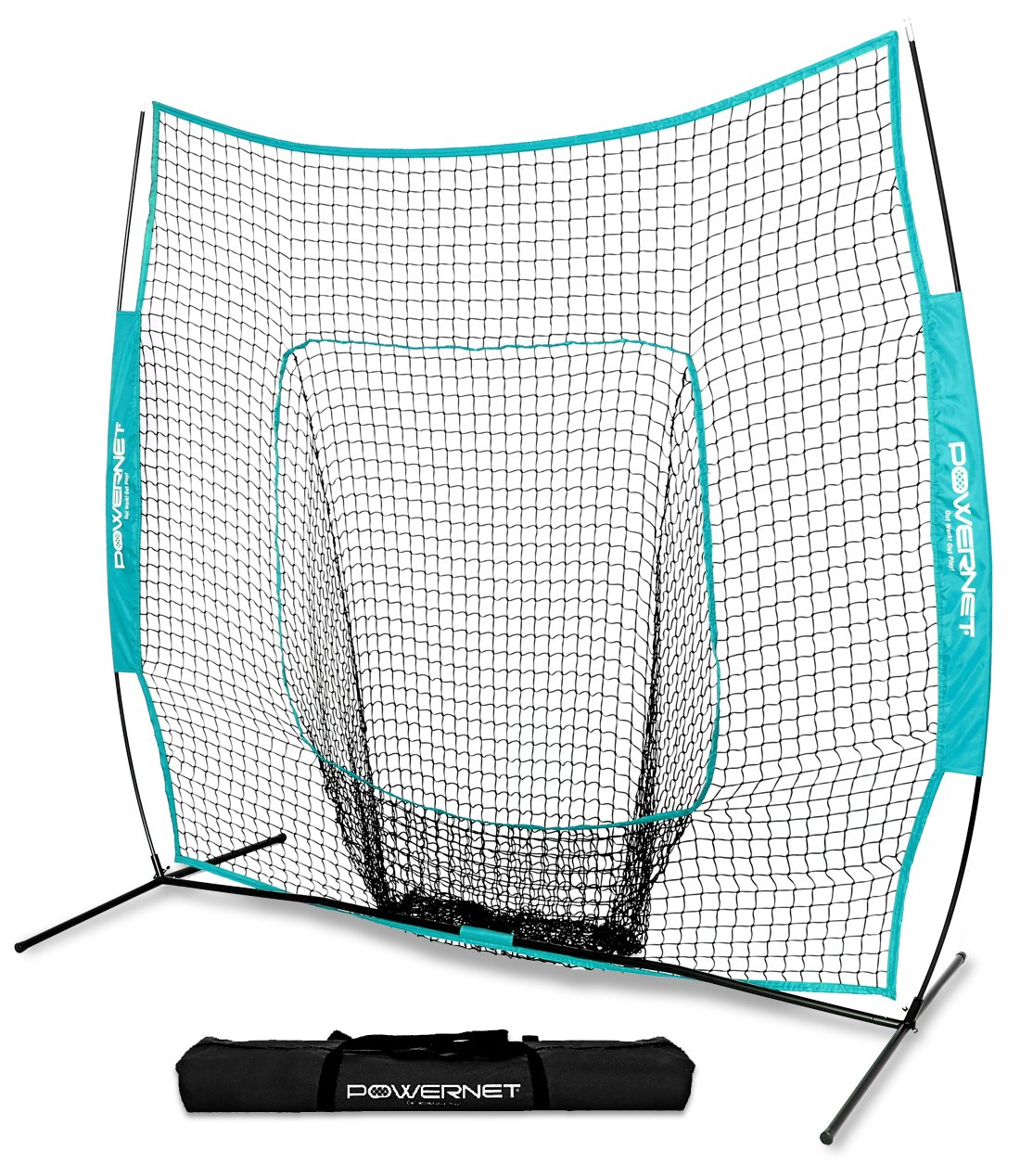 PowerNet Team Color Baseball Softball 7x7 Hitting Net w/Bow Frame (Sky Blue) by PowerNet