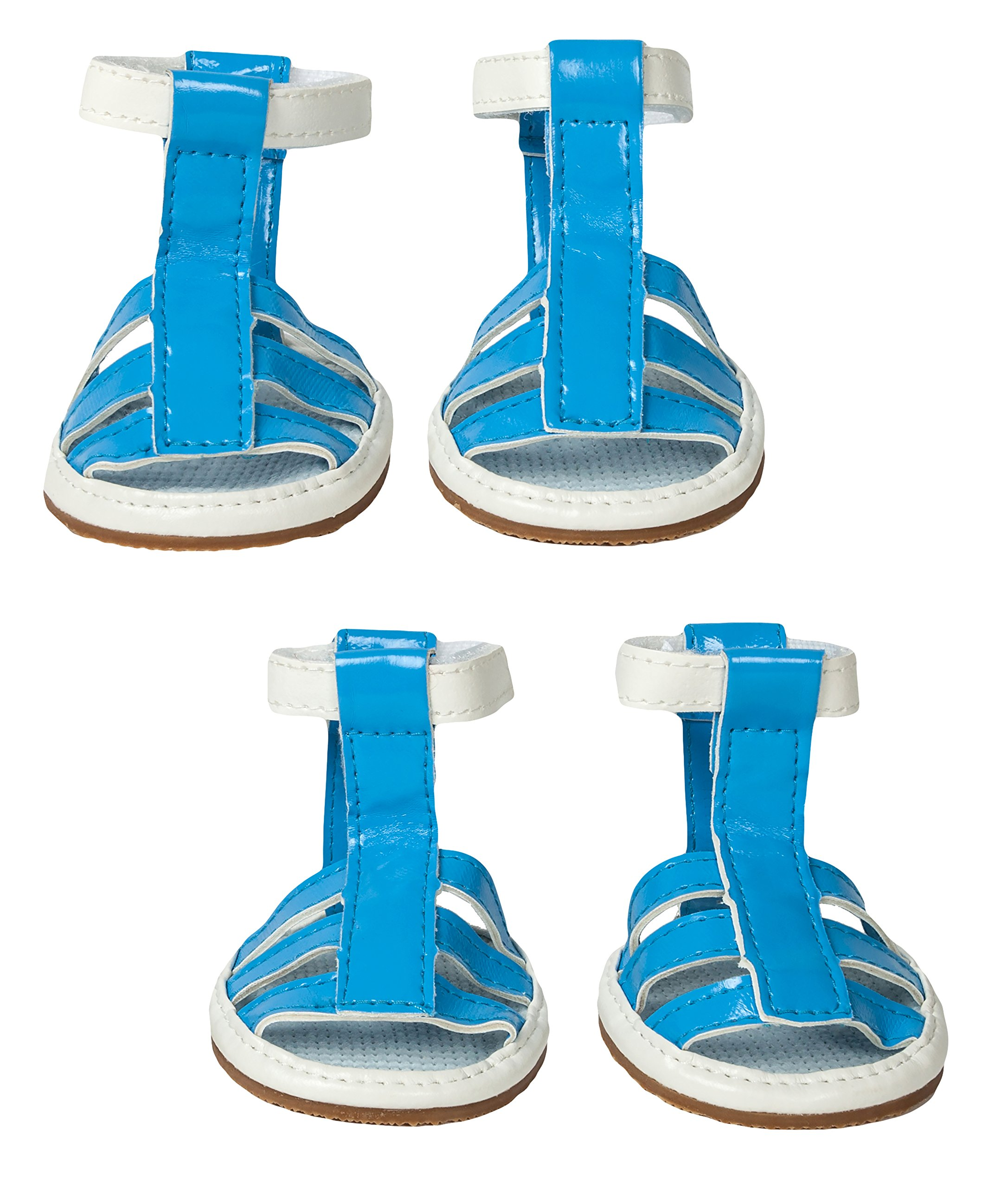 Pet Life Buckle Supportive' PVC Waterproof Pet Dog Sandals Shoes Booties - Set of 4, Small, Ocean Blue