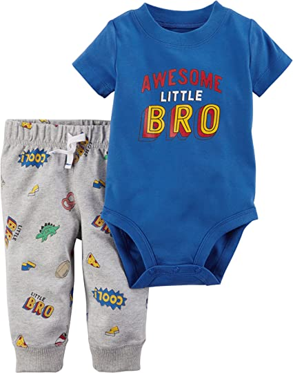 AWESOME LITTLE BRO Carter/'s Baby Boys/' 2 Piece Bodysuit /& Pants Set 24 Months