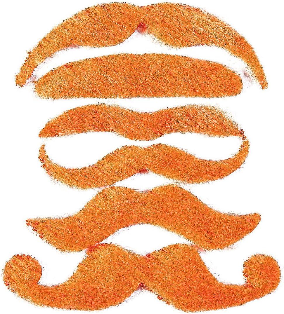 Costume Moustache Orange by OTC 12 Synthetic Mustache Assortment