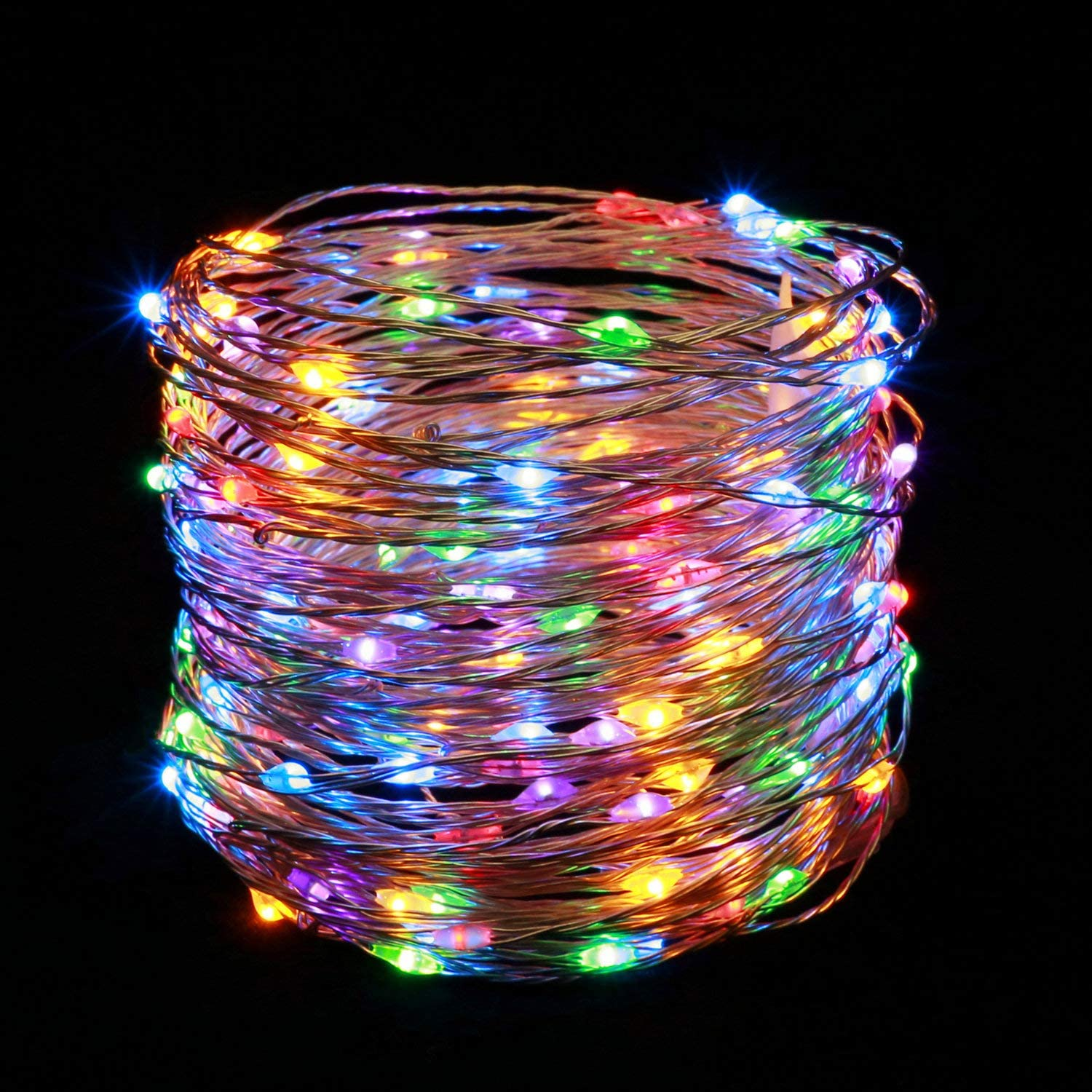 YULETIME Fairy String Lights with Adapter, 66 Ft 200 LEDs Waterproof Starry Copper Wire Lights, Home Decor Firefly Lights for Garden Backyard Christmas Tree (Multicolor, Coppery Wire)