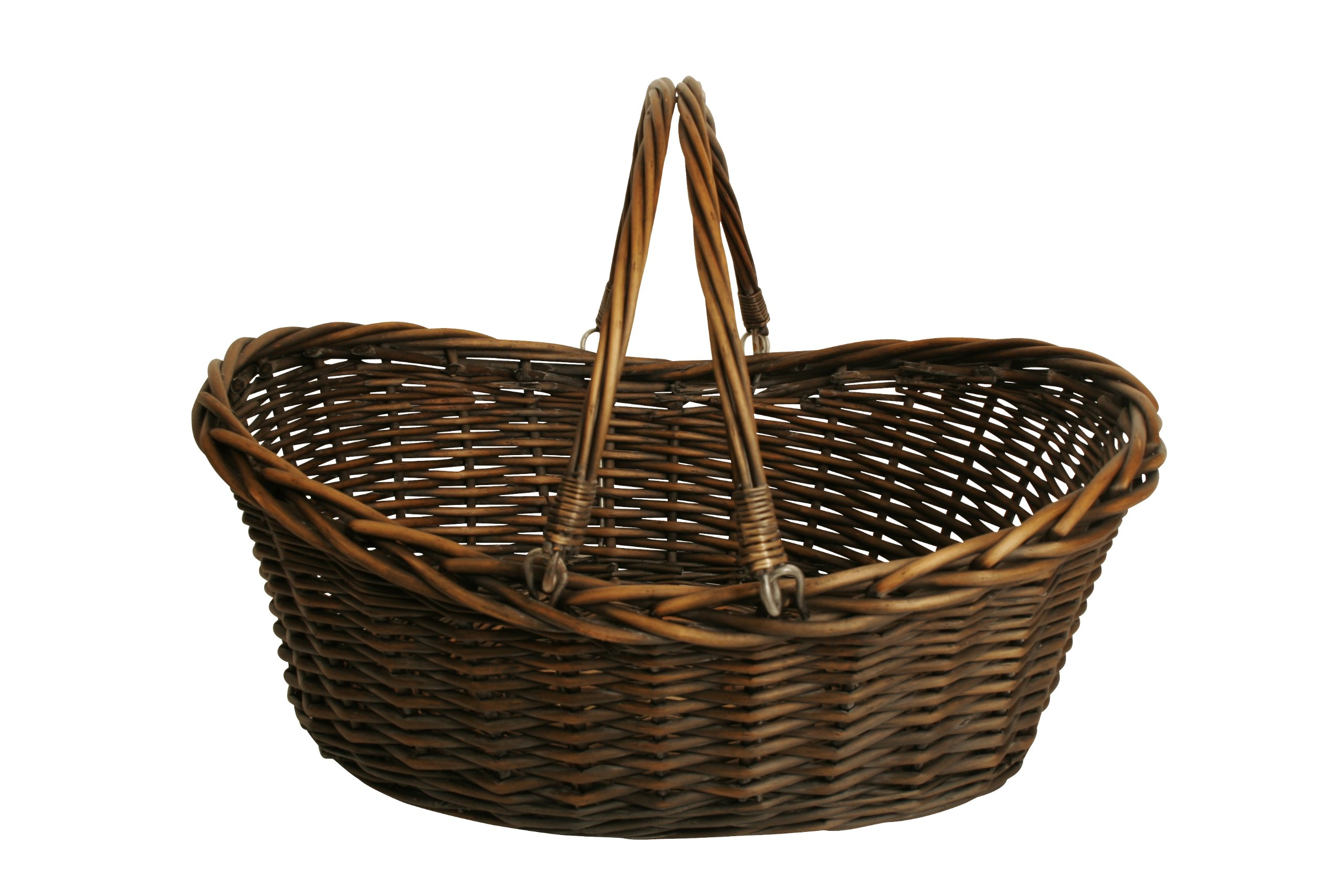 "Wald Imports Brown Willow 19.5"" Decorative Storage Basket - Dark Brown stain Hand Woven from natural Materials Woven willow basket with folding handles - living-room-decor, living-room, baskets-storage - 81Mm5j1UvaL -"