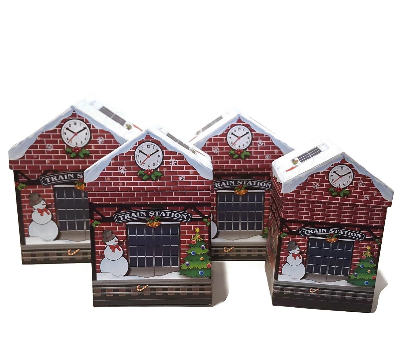 Amazoncom Set Of 4 Christmas Holiday House Shaped Nested