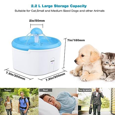 AEMIAO Fuente de Agua Bebedero para Perro Gato, Inteligente Sensor, 2.2 L: Amazon.es: Productos para mascotas