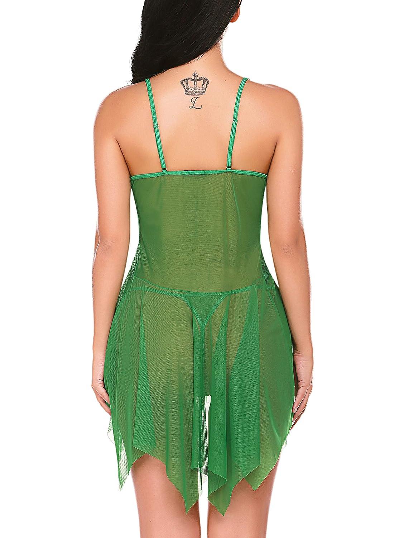 Avidlove Women Lingerie Lace Babydoll V Neck Sleepwear Strap Chemise