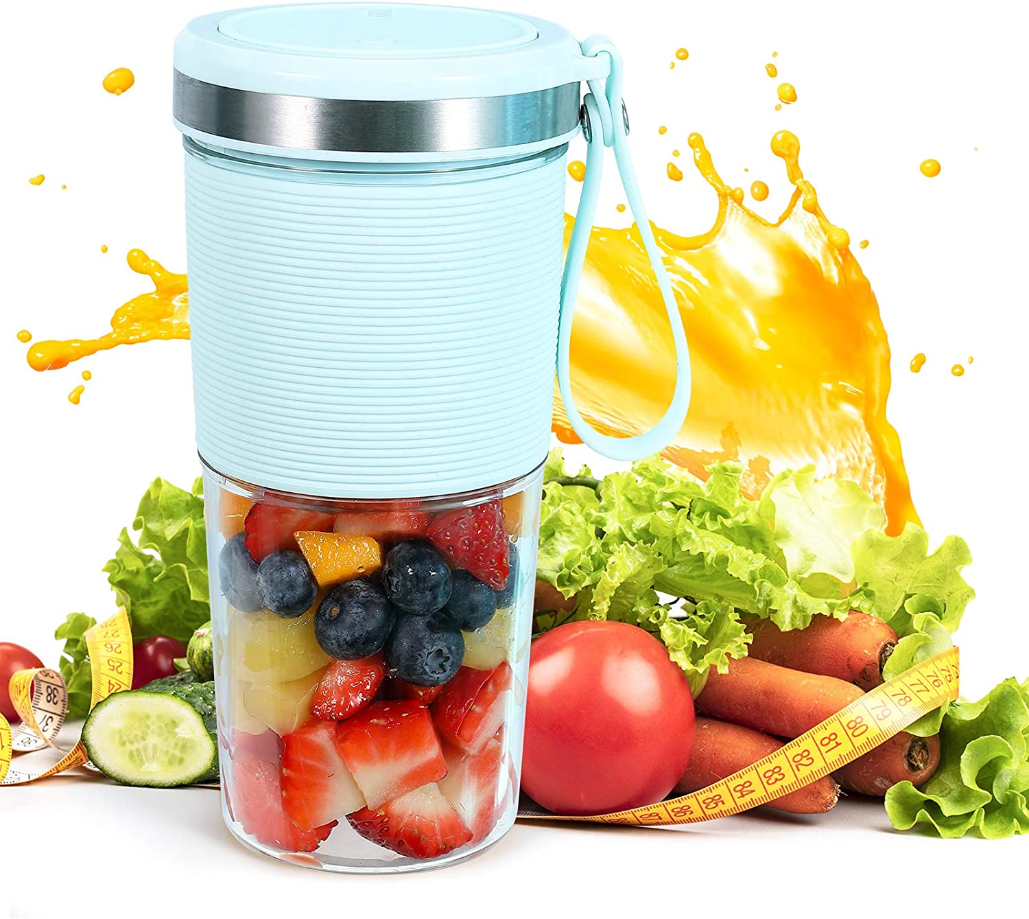 Portable Blender, LEQEE Cordless Portable Juicer Blender Cups for Shakes and Smoothies, 13.5oz Travel Blender with USB Rechargeable, On the Go Small Portable Blender Cup Made with Bpa-free Material
