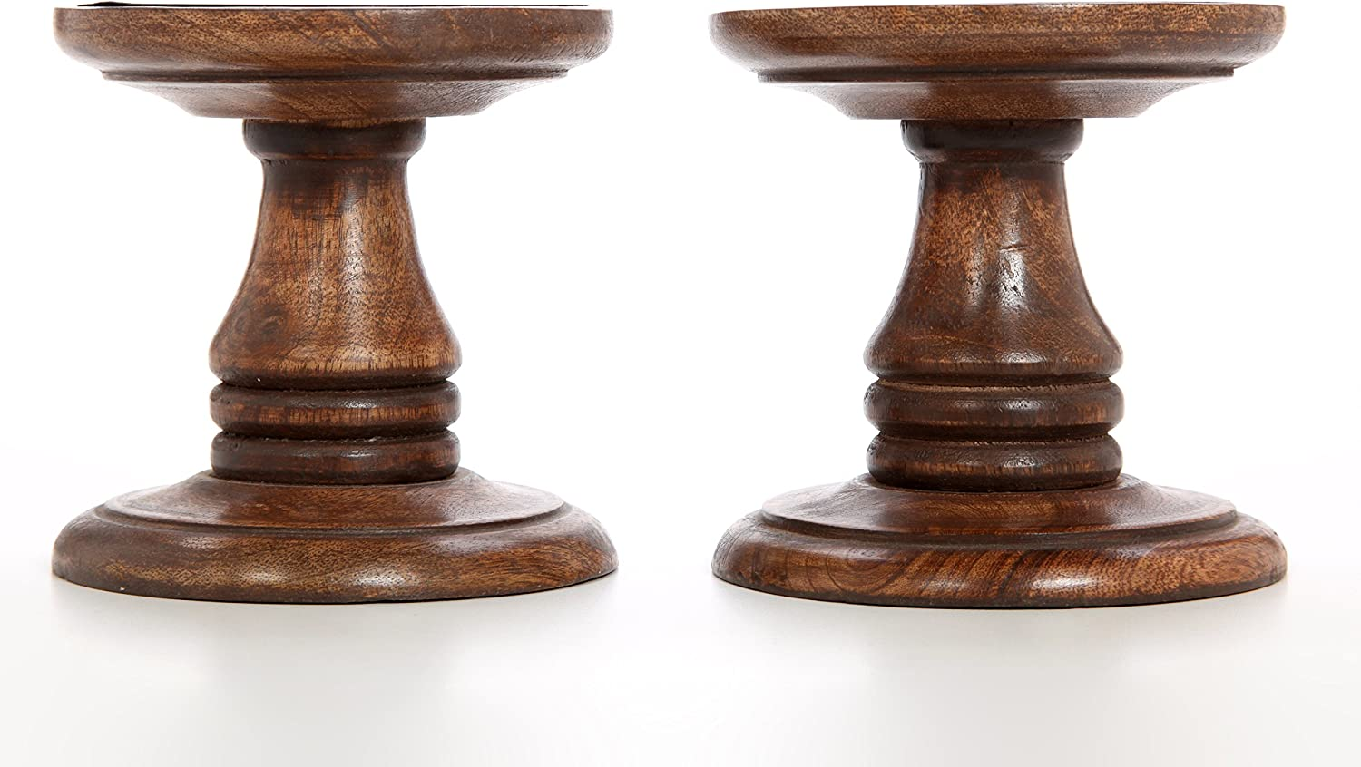 Hosley Set of 2 Wood Pillar Candle Holders 5 Inch High Ideal Gift for Weddings Bridal Party Spa Reiki Meditation Votive LED Pillar Candle Gardens O3: Home & Kitchen