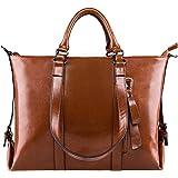 S-ZONE 3-Way Ladies Women's Cow Split Leather Tote Bag Handbag Shoulder Bags (B-Brown)
