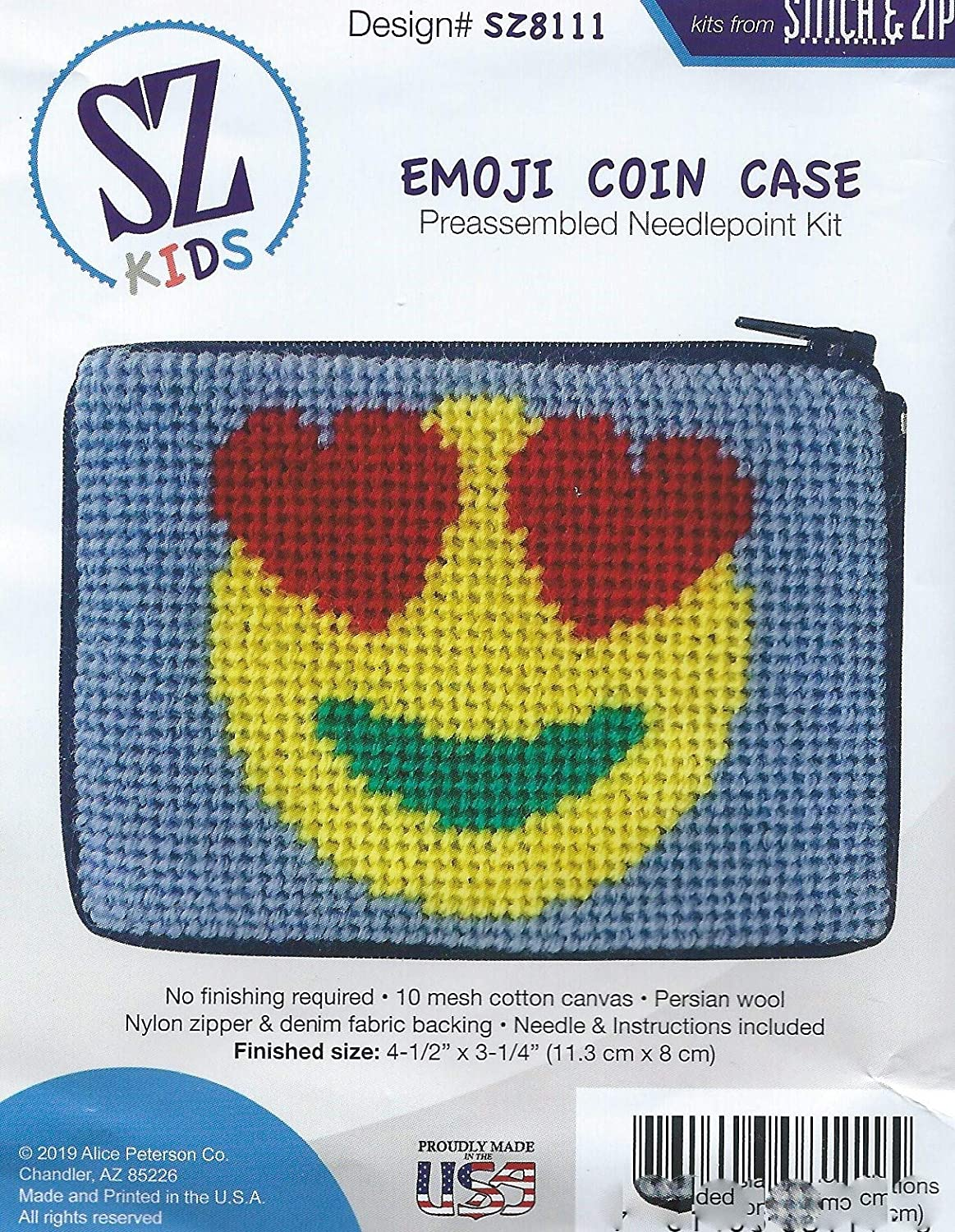 Emoji Needlepoint Coin Purse Kit with Persian Wool