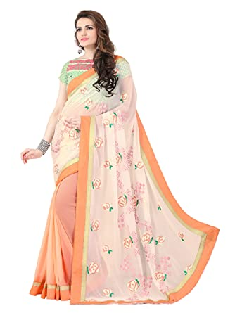 bccfbd0e2e Elevate Women Embroidered Bollywood Georgette Saree (Orange): Amazon.in:  Clothing & Accessories