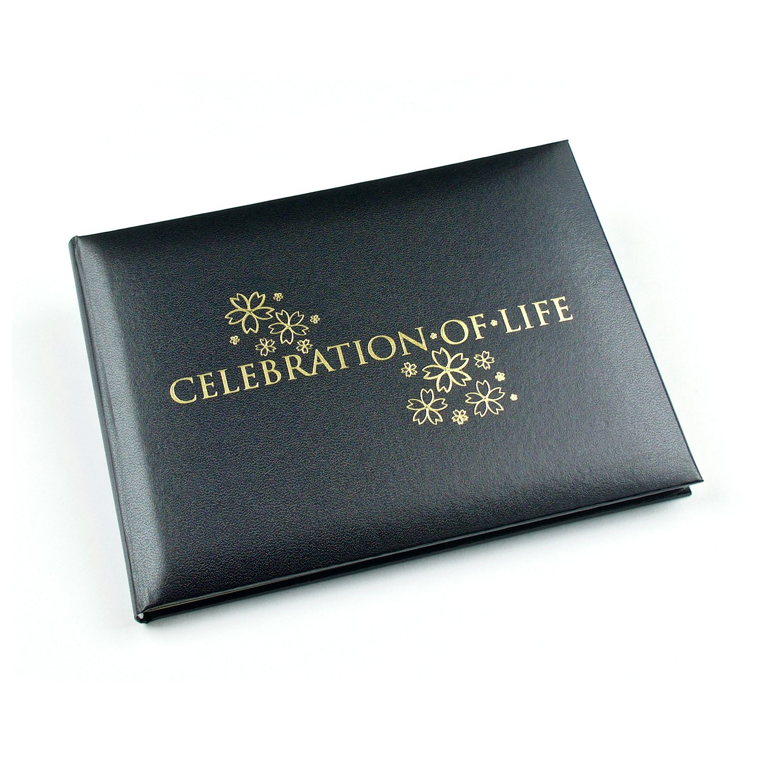 Celebration Of Life - Condolence Book - Funeral Guest Book - Black (Open Format Inner Pages ) - 8.9 x 6.7 x 1.2 inches