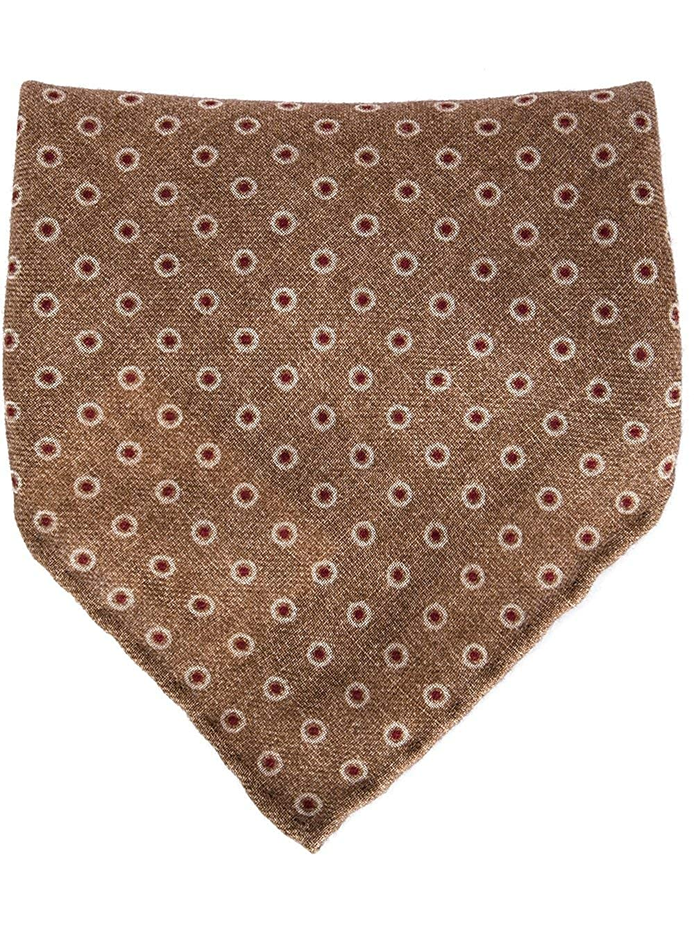 Brunello Cucinelli Brown Dotted Print Handkerchief//Pocket Square