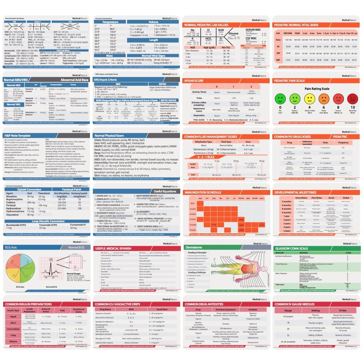 Scrubnotes - Medical Reference ID Badge Cards - 13 Card Set - Reference sheets for Doctors and Nurses by Medical Basics