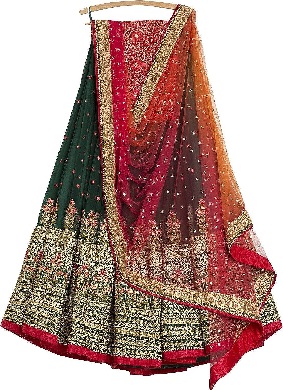 f60e5ee4e4ad2c Amazon.com  Indian Designer Collection Embroidered Work Indian Bollywood  Designer Lehenga Choli Ethnic Look Women Semi-Stitched Lehenga Choli A336   Clothing