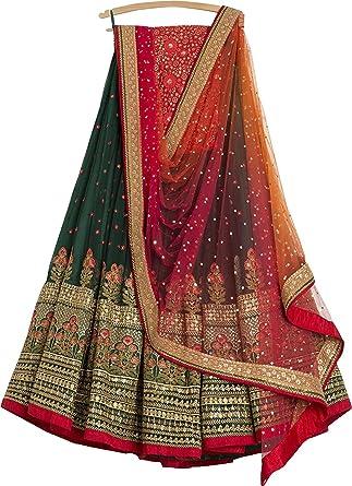 798e5469544 Amazon.com  Indian Designer Collection Embroidered Work Indian Bollywood Designer  Lehenga Choli Ethnic Look Women Semi-Stitched Lehenga Choli A336  Clothing