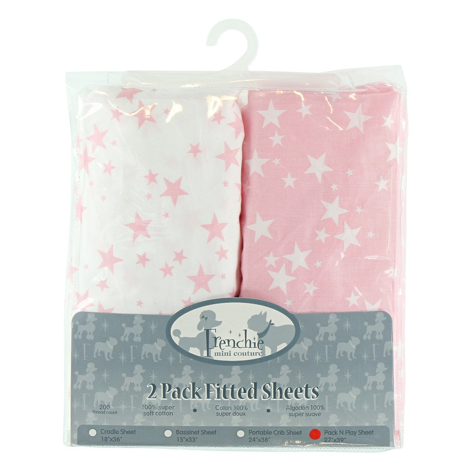 Pink Stars 2 Pack Fitted Pack N Play Crib Sheets Frenchie Mini Couture