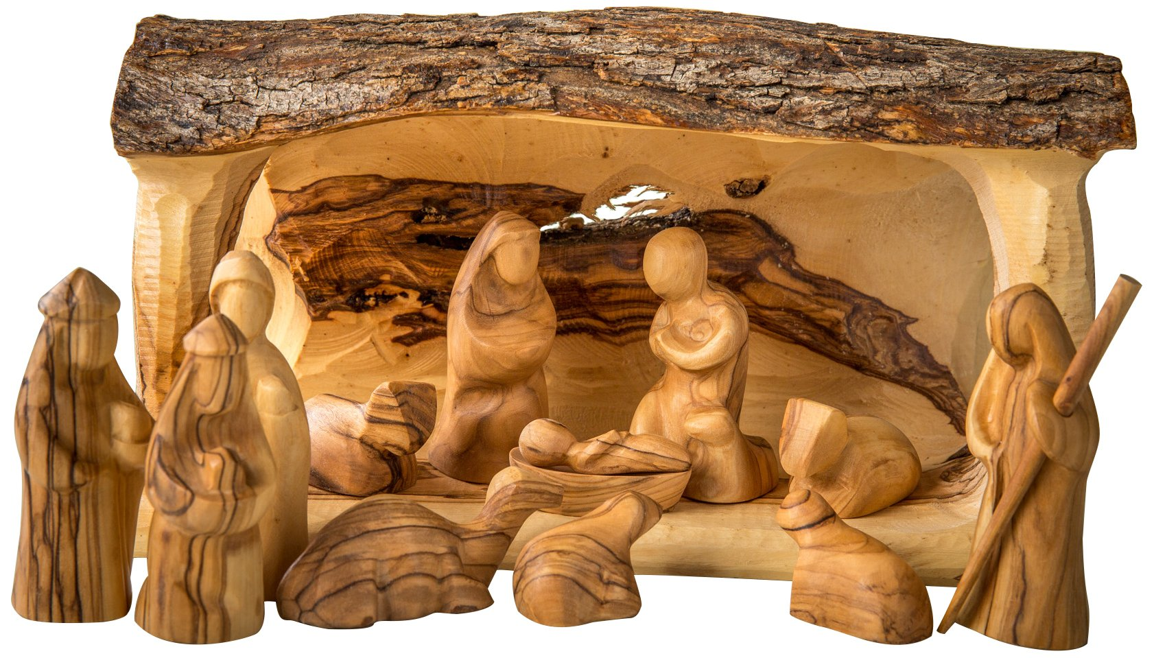 Earthwood Olive Wood Solid Branch Stable with Modern Nativity Set