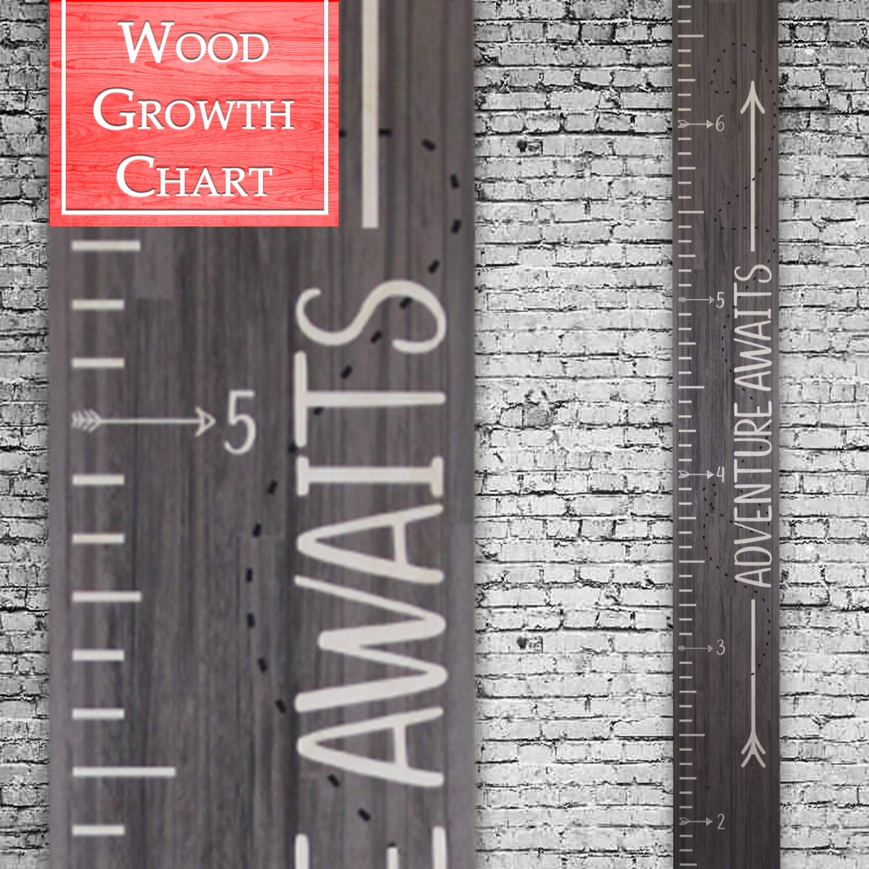 Wooden Growth Chart Height Ruler Back40Life Adventure Awaits Ebony Wash Premium Series -