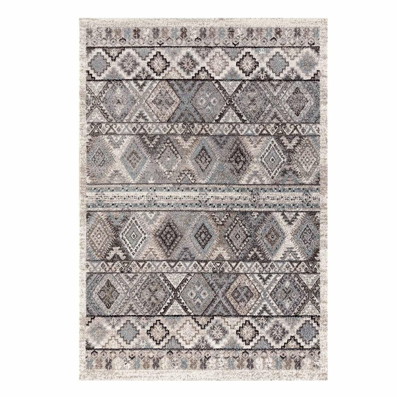 Teppich Flachflor mit Klassisch, Orientalischen Muster in Creme, Grau für Wohnzimmer Größe 200 290 cm