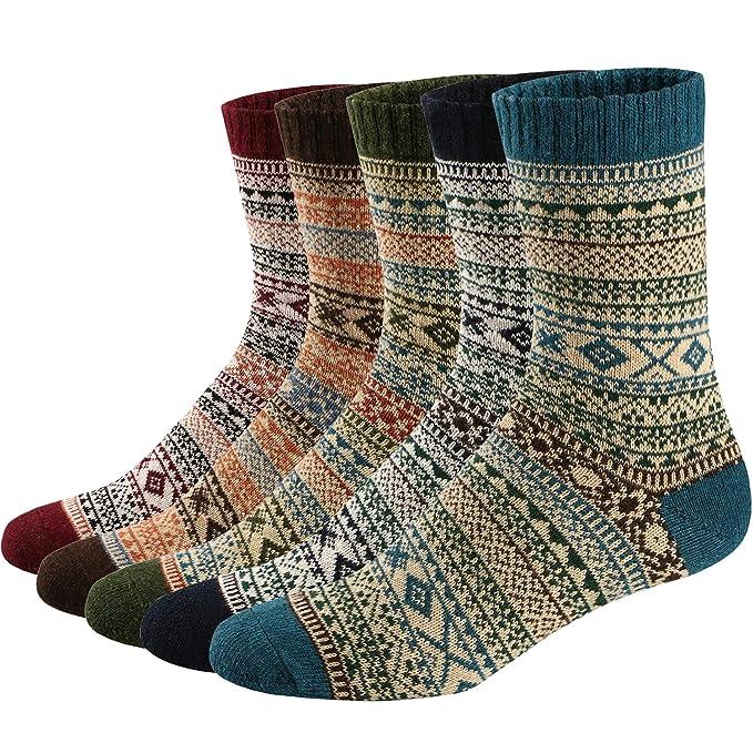 Acewin Calcetines de Lana Tejida Gruesa Cálida y Suave para Invierno y Otoño de Estilo Antiguo