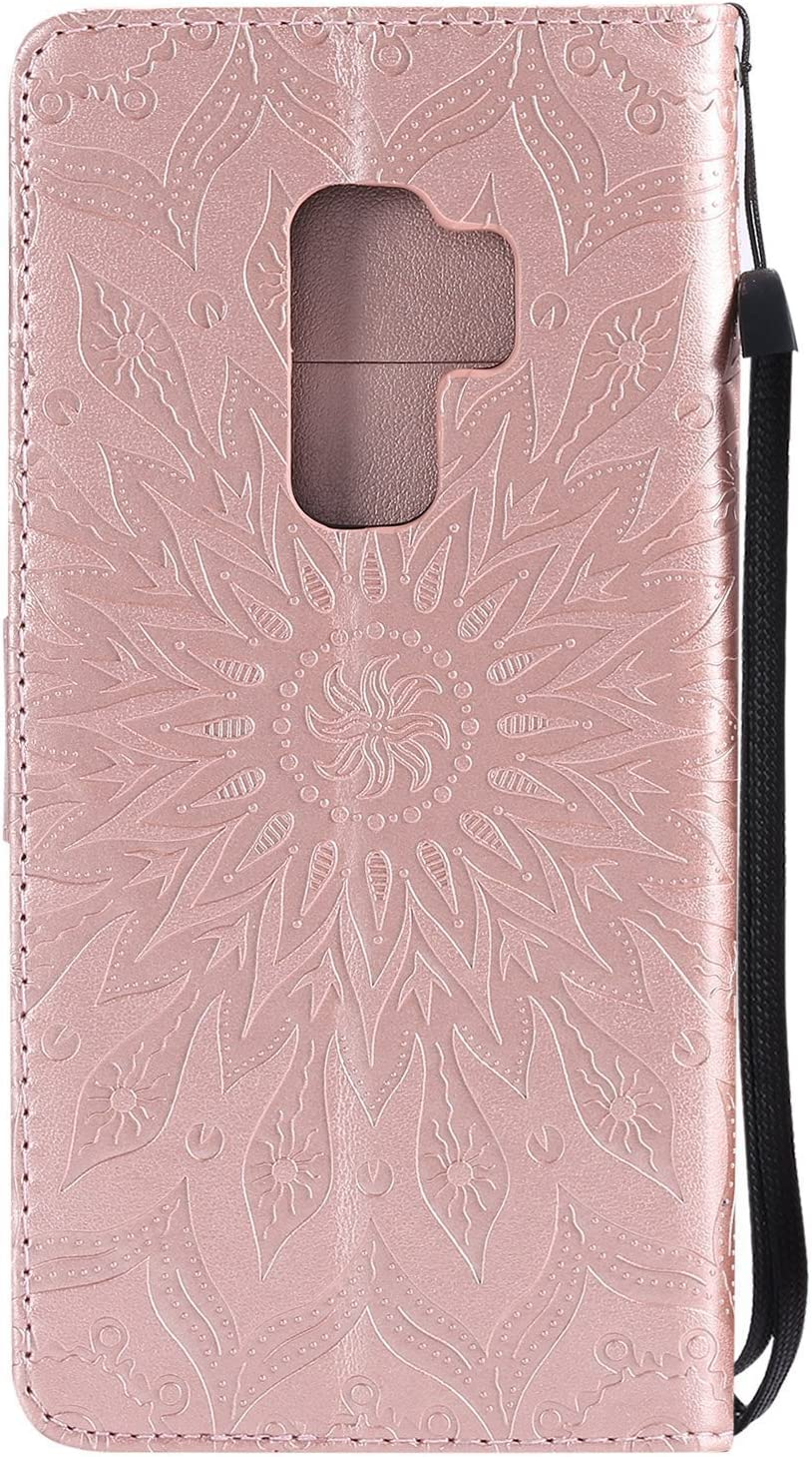 Galaxy S9 Case LEECOCO Embossed Floral Wallet Case with Card//Cash Slots /& Wrist Strap Kickstand Premium PU Leather Folio Flip Case Cover for Samsung Galaxy S9 Mandala Purple