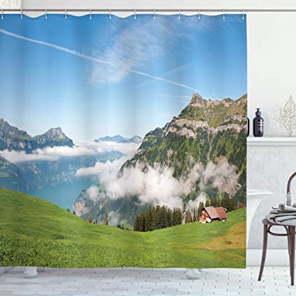Ambesonne Mountain Shower Curtain Pastoral View Switzerland Lake Lucerne Cloudy Grassland Pines Altdorf Uri Fabric Bathroom Decor Set With Hooks 70 Inches Blue Green White Amazon Co Uk Kitchen Home