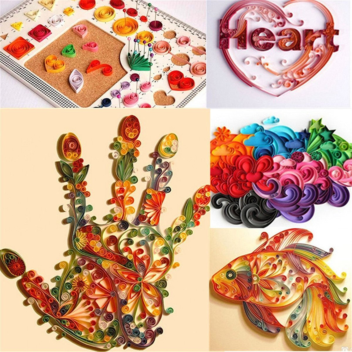 Hosaire Paper Quilling Strips (260 Strips) 26 Colors (3/5/7/10mmx39cm) for Arts and Crafts Projects (39cm10mm) by Hosaire (Image #3)