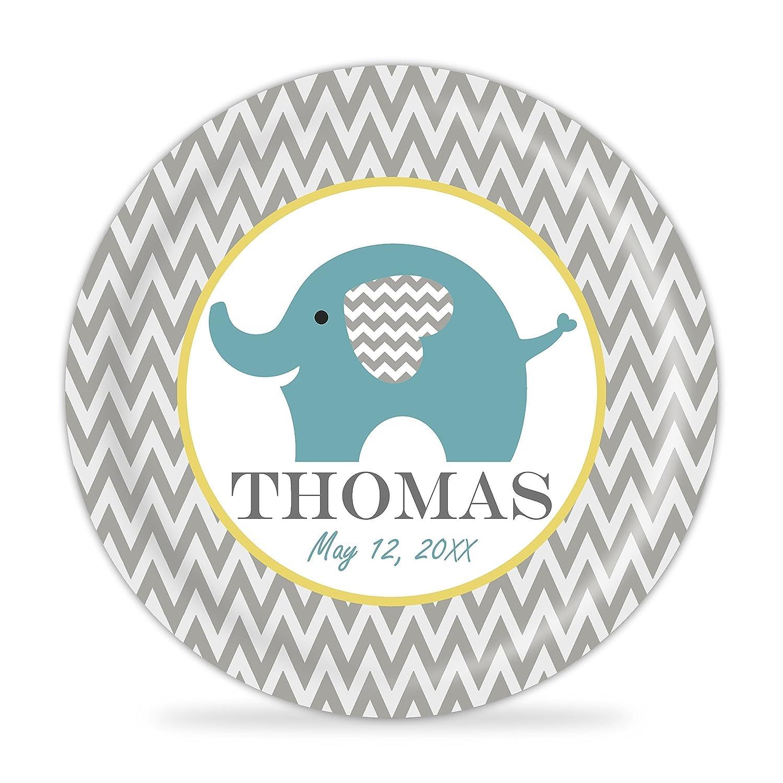 Baby Birthday Keepsake Melamine Personalized Plate Baby Elephant Plate