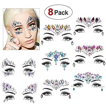 f9ce77e14 Face Gems, Konsait 8 Pack Face Gem Jewels Makeup Stickers Face Temporary Tattoo  Glitter Rhinestone