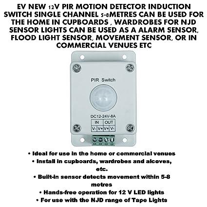 EV notebookbits 12 V inducción interruptor DETECTOR de movimiento PIR solo canal 5-8METRES CAN