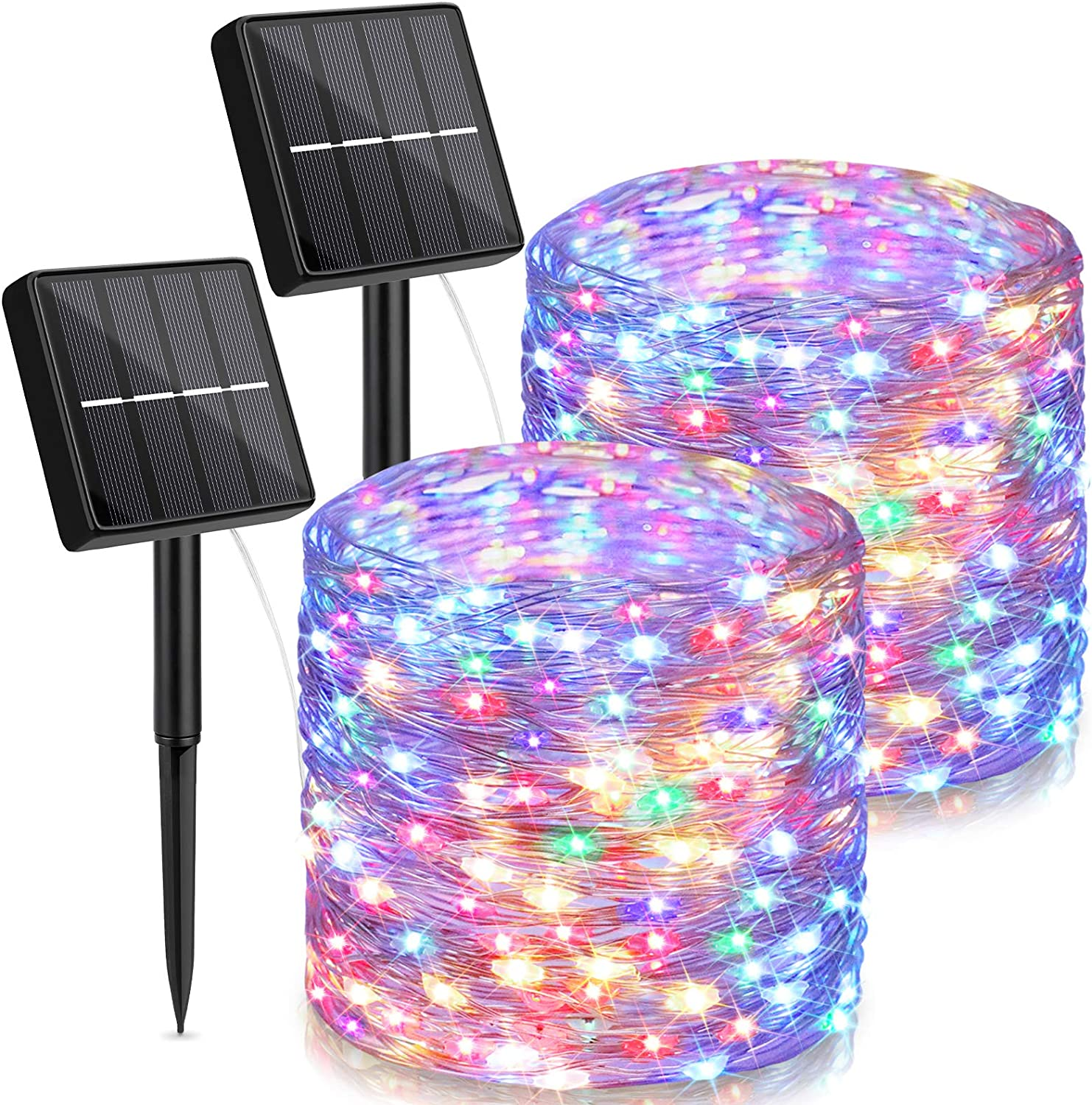 Outdoor Solar String Lights Waterproof 144Ft, 2-Pack Each 72FT 200 LED Solar Powered Fairy Lights with 8 Lighting Modes, Cooper Wire Lights Decoration for Patio, Garden, Party, Wedding (Muti Color)