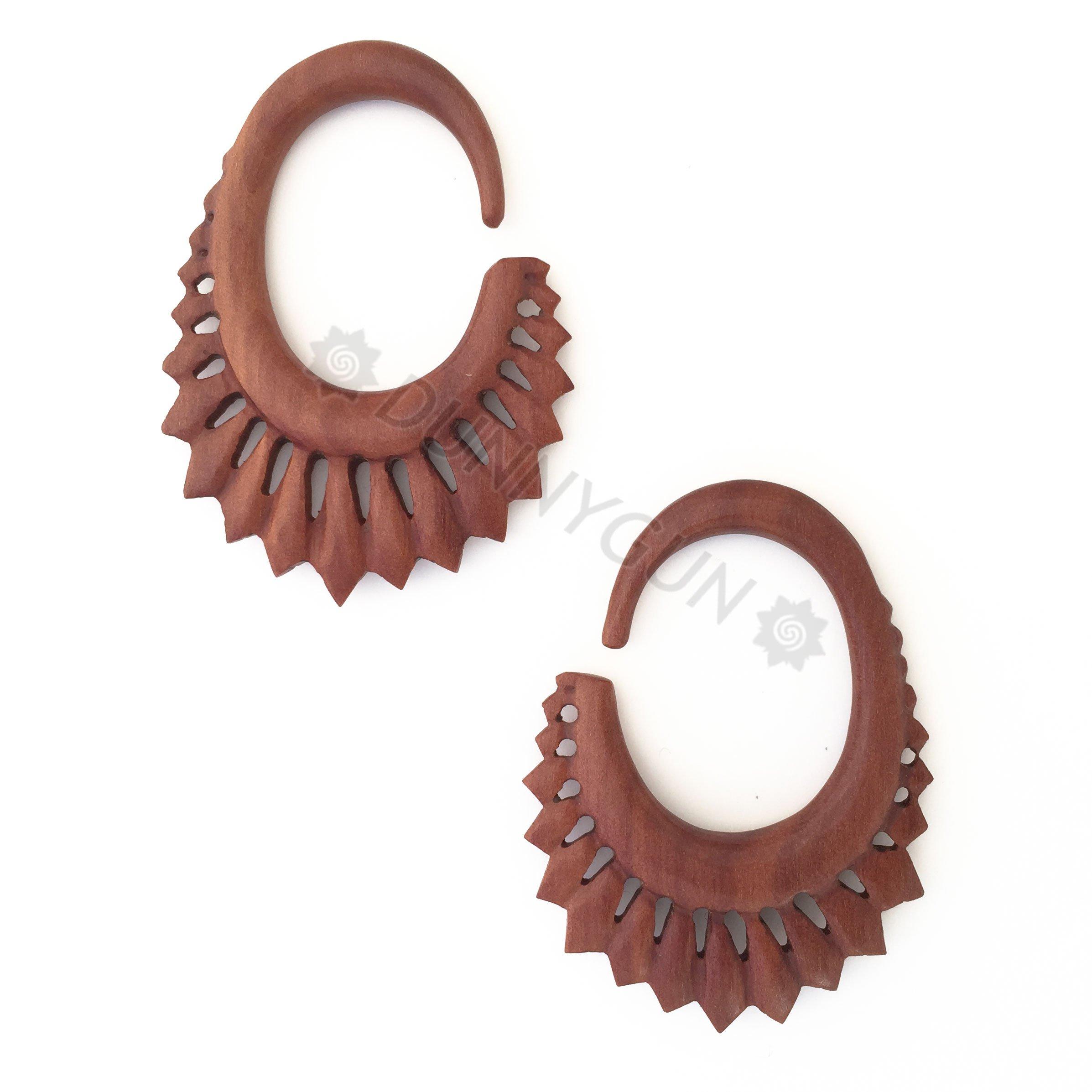 6G Pair Red Saba Wood Short Quiver Spiral Gauged Earring Plugs 6 Gauge Dunnygun Body Piercing Jewelry
