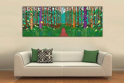 Cuadro Lienzo La Llegada de la Primavera David Hockney - Lienzo de Tela Bastidor de Madera de 3 cm - Fabricado en España - Impresión en Alta resolución – 45x120: Amazon.es: Hogar