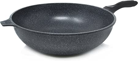Alpha Nonstick Marble Stone Coating Wok Pan, 13.4-Inch PFOA FREE