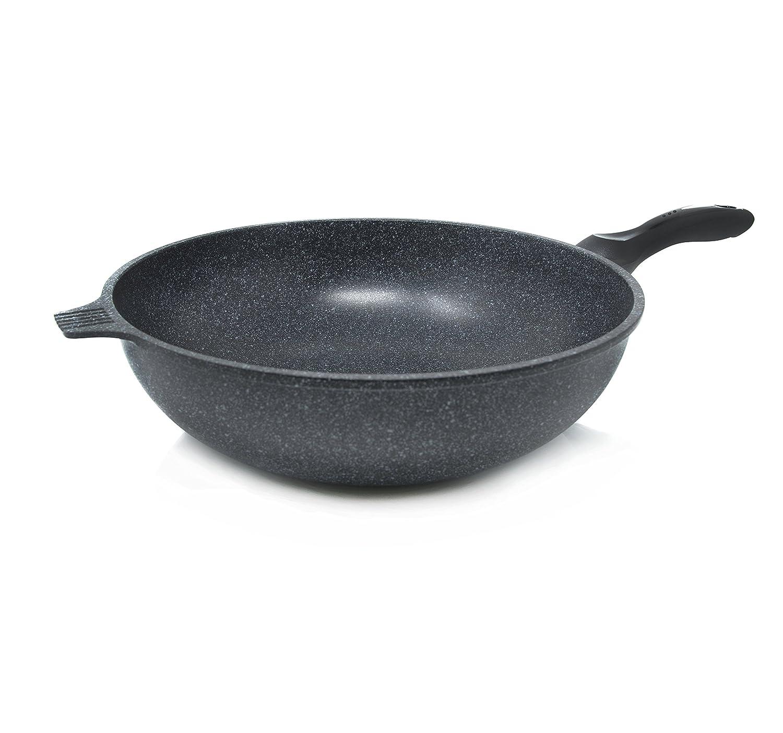 Alpha Nonstick Marble Stone Coating Wok Pan, 13.4-Inch PFOA FREE