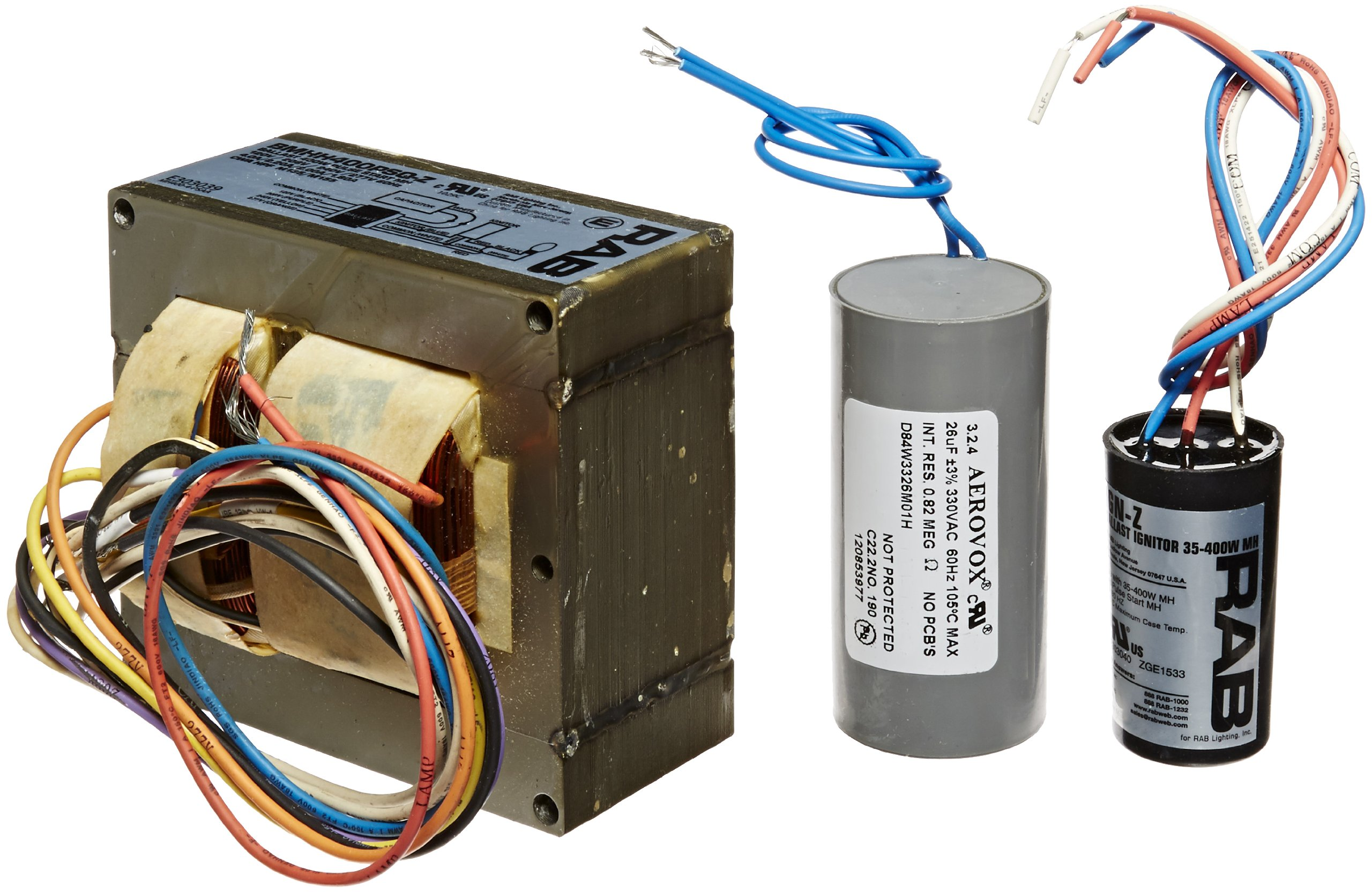 RAB Lighting BMHH400PSQ Metal Halide and Pulse Start Ballast Kit, 400W Power