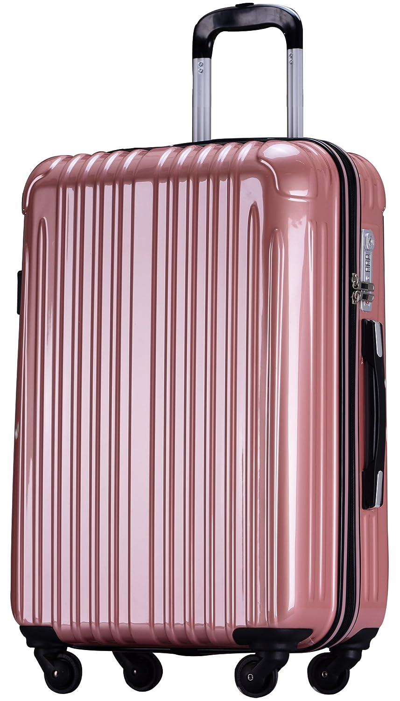 ラッキーパンダ スーツケース TY001 ハード 超軽量 TSAロック ファスナータイプ 機内持込 B07DPLFB9V Mサイズ(4~6日の旅行向け)|ローズゴールド ローズゴールド Mサイズ(4~6日の旅行向け)