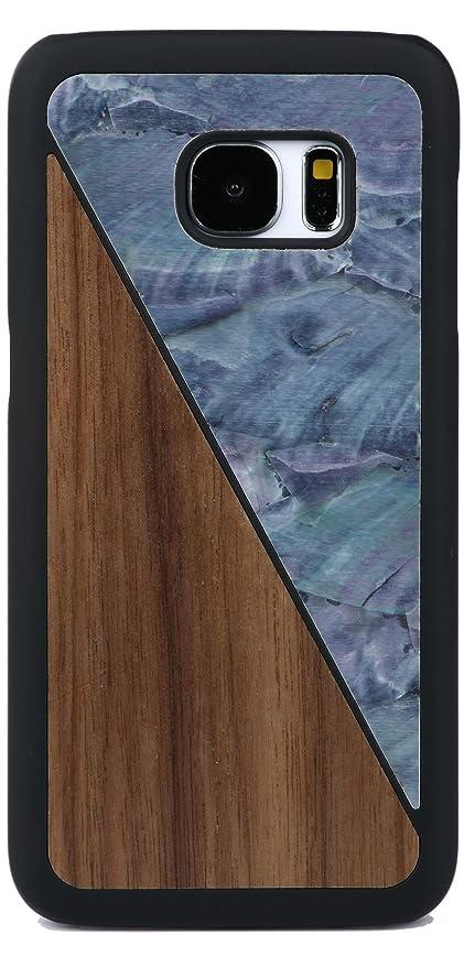 4 opinioni per WOLA Galaxy s7 Edge case madreperla i legno AQUA cover noce azzuro
