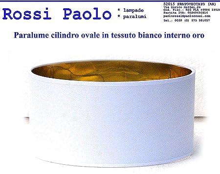 made in Italy cilindro, cm 45 Paralume coprilampada in tessuto bianco interno oro produzione propria