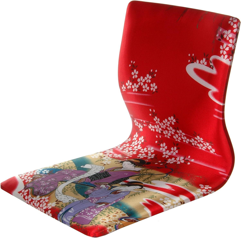 Oriental Furniture Tatami Meditation Backrest Chair - Red Geisha
