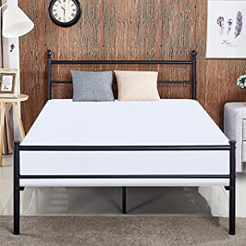 Amazon.com: VECELO Reinforced Metal Bed Frame Queen Size Platform ...