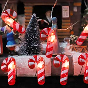IMPRESS LIFE Candy Cane Christmas Theme String Lights, 10ft 20 LED 3D Plus Twinkle Lights, USB Battery-Powered with 8 Flicker Modes Remote for St. Nikolas Day, Bedroom, Porch, Wedding, Birthday Ideas